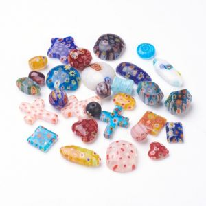 Millefiori Glass Beads - Mixed Shapes - 25g